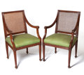 Furniture , The Collection of Paul Gregory and Janet Gaynor. A PAIR OF ITALIAN NEOCLASSICAL-STYLE FRUITWOOD ARMCHAIRS . 20th centu... (Total: 2 Items)