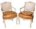 Furniture : French, THE COLLECTION OF PAUL GREGORY AND JANET GAYNOR. A SET OFFOUR LOUIS XV-STYLE PAINT-DECORATED FAUTEUILS . 20th centu...(Total: 4 Items)