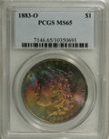 Morgan Dollars: , 1883-O $1 MS65 PCGS. The reverse of this highly lustrous dollar ismostly brilliant with trac...