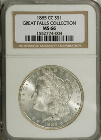 1885-CC $1 MS66 NGC. Another brilliant, ice-white Premium Gem example of this popular Carson City date, with just a bit...