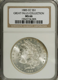 1885-CC $1 MS66 NGC. This snow-white Premium Gem displays a layer of thick mint frost across both sides, and glittering...