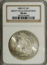 1885-CC $1 MS66 NGC. Slightly weak over the centers, as usual, but highly attractive with bold luster and impressive sur...