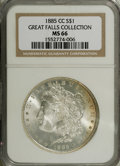 Morgan Dollars: , 1885-CC $1 MS66 NGC. Another bright, frosty, mostly untoned Premium Gem with a small band of ...