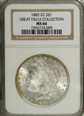 Morgan Dollars: , 1885-CC $1 MS66 NGC. Lightly toned, with a small degree of amber-gold and crimson color near ...