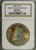 Morgan Dollars: , 1885-O $1 MS66 ★ NGC, two pieces with pleasing luster and above-average detail. One has blue... (Total: 2 Coins)