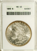 1893 $1 MS63 ANACS. Distinctive yellow-orange toning occupies the rims of this Select and highly lustrous example. The f...