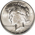 Peace Dollars: , 1921 $1 MS66 PCGS. The typical 1921 Peace dollar, with its highrelief design, shows consider...