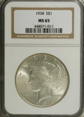 Peace Dollars: , 1934 $1 MS65 NGC. A sharply struck sky-gray and marigold Gem with aremarkably clean obverse ...