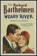 "Movie Posters:Drama, Weary River (First National, 1929). One Sheet (27"" X 41""). Style A.Drama.. ..."