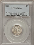 Seated Dimes, 1864 10C MS64 PCGS. Fortin-102....