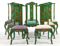 A SET OF EIGHT AMERICAN LACQUERED DINING CHAIRS Frances Adler Elkins, Monterey, California, circa 1930 Unmarke