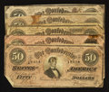 Confederate Notes:1864 Issues, T66 $50 1864 Five Examples.. ... (Total: 5 notes)