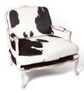 American:Western, THE COLLECTION OF PAUL GREGORY AND JANET GAYNOR. A LOUIS XV STYLEPAINT DECORATED AND COWHIDE UPHOLSTERED FAUTEUIL . Ameri...