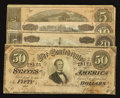 Confederate Notes:1864 Issues, Four Different 1864 Notes Fine or Better.. ... (Total: 4 notes)