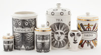 AN ITALIAN CERAMIC CANISTER SET Piero Fornasetti, Milan, Italy, circa 1950 Marks to canisters: FORNESETTI-M