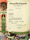 "Movie Posters:Horror, The Bride of Frankenstein (Universal, 1935). Universal Film Letterhead, Typewritten Letter (8.25"" X 10.75"").. ..."