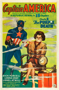 "Movie Posters:Serial, Captain America (Republic, 1944). One Sheet (27"" X 41""). Chapter 1 -- ""The Purple Death."". ..."