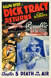 """Dick Tracy Returns (Republic, 1938). One Sheet (27"""" X 41""""). Chapter 5--""""Death in the Air."""""""