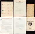 Baseball Collectibles:Others, Major League Baseball Signed Letters and Memorabilia Lot....