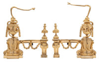 A PAIR OF LOUIS XVI-STYLE GILT BRONZE CHENETS Probably Paris, France, circa 1875 Unmarked 18 x 13-3/4 x 4-1/