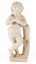 Fine Art - Sculpture, American:Modern (1900 - 1949), THE COLLECTION OF PAUL GREGORY AND JANET GAYNOR. ARECONSTITUTED STONE GARDEN FIGURE OF A PUTTO PLAYING A FLUTE . 2...