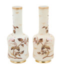 Art Glass:Other , A PAIR OF AMERICAN PAINTED GLASS VASES . Attributed to MountWashington, New Bedford, Massachusetts, circa 1890. Unmarked. 1...(Total: 2 Items)