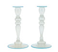 Art Glass:Steuben, A PAIR OF AMERICAN VERRE DE SOIE CANDLESTICKS . SteubenGlass, Corning, New York, circa 1950. Unmarked. 10 inch... (Total:2 Items)