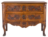 A FRENCH LOUIS XV-STYLE PROVINCIAL WALNUT COMMODE France, circa 1800 Unmarked 36 x 48 x 24 inches (91.4 x 1