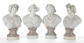 Decorative Accessories, A SET OF FOUR ITALIAN STYLE GLAZED EARTHENWARE BUSTS OF THE FOUR SEASONS . 20th Century. 28 inches (71.1 cm). ... (Total: 4 Items)
