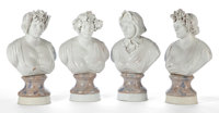 A SET OF FOUR ITALIAN STYLE GLAZED EARTHENWARE BUSTS OF THE FOUR SEASONS 20th Century 28 inches (71.1 cm)