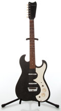 Musical Instruments:Electric Guitars, 1960s Silvertone Model 1449 Black Electric Guitar and Amplifier,Serial # 185.11090....