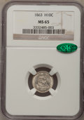 Seated Half Dimes, 1863 H10C MS65 NGC. CAC....