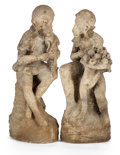 Fine Art - Sculpture, European:Antique (Pre 1900), The Collection of Paul Gregory and Janet Gaynor. A GROUP OFTWO RECONSTITUTED STONE GARDEN FIGURES OF MONKEYS . Europe...(Total: 2 Items)