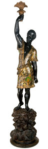 Decorative Arts, Continental:Other , A VENETIAN CARVED AND PAINT DECORATED BLACKAMOOR FIGURE . Venice,Italy, circa 1890. Unmarked. 35 inches high (88.9 cm). ...