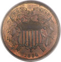 Two Cent Pieces, 1864 2C Small Motto MS64 Red and Brown PCGS. FS-401....