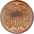 Two Cent Pieces, 1864 2C Small Motto MS64 Red and Brown NGC. FS-401....