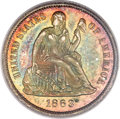 Proof Seated Dimes, 1863 10C PR66 PCGS Secure. CAC....
