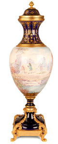 Decorative Arts, French:Other , A FRENCH SÈVRES-STYLE PORCELAIN COVERED URN WITH GILT BRONZE MOUNTS. Probably Paris, France, circa 1900. Marks: C. Velly... (Total:2 Items)