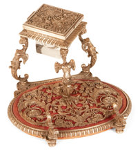 A CONTINENTAL ROCOCO-STYLE SILVER PLATED INK STAND Possibly Italy, circa 1900 Unmarked 4-1/2 x 7 x 8 inches