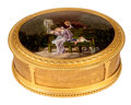 Paintings, A FRENCH ENAMEL AND GILT BRONZE CASKET . Probably Limoges, France, circa 1900. Unmarked. 3-1/2 x 9 x 7 inches (8.9 x 22.9 x ...