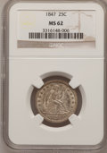 Seated Quarters: , 1847 25C MS62 NGC. NGC Census: (6/22). PCGS Population (4/14).Mintage: 734,000. Numismedia Wsl. Price for problem free NGC...