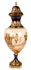 Decorative Arts, French:Other , A FRENCH SÈVRES-STYLE PORCELAIN COVERED VASE WITH GILT BRONZEMOUNTS . Probably Paris, France, circa 1900. Marks: Darney...(Total: 2 Items)