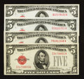 Small Size:Legal Tender Notes, Early $5 Legal Tenders.. ... (Total: 4 notes)