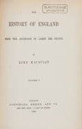Books:World History, [Thomas Babington] Macaulay. The History of England. London:Longmans, Green, 1889. Later edition. Eight octavo ... (Total: 8Items)