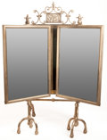 Furniture : American, AN AMERICAN SILVERED METAL DRESSING TABLE MIRROR . Possibly NewYork, New York, circa 1900. Unmarked. 37 x 40 x 18 inches (9...