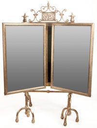 AN AMERICAN SILVERED METAL DRESSING TABLE MIRROR Possibly New York, New York, circa 1900 Unmarked 37 x 40 x