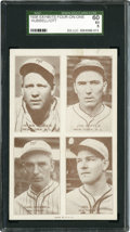 Baseball Cards:Singles (1930-1939), 1938 Exhibits 4 On 1 With Hubbell and Ott SGC 60 EX 5....