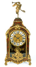 Decorative Arts, French:Other , A FRENCH LOUIS XV-STYLE TORTOISESHELL AND BRASS INLAID GILT BRONZEBRACKET CLOCK AND SHELF . Probably Paris, France, circa 1...(Total: 2 Items)
