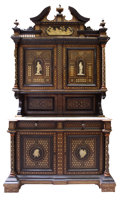 Furniture : Continental, A CONTINENTAL IVORY INLAID WALNUT BUFFET CABINET . ProbablyNorthern Italy, circa 1875-1900. Unmarked. 110 x 58-1/2 x 30 inc...