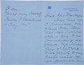 """Autographs:U.S. Presidents, Francis Folsom Cleveland Autograph Letter Signed as First Lady""""Francis F. Cleveland""""...."""